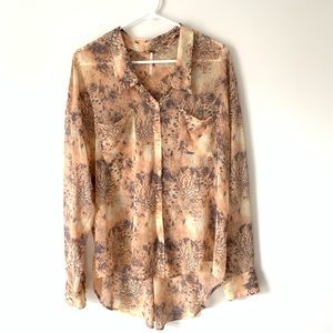 Free People Sheer Peach High Low Blouse Large